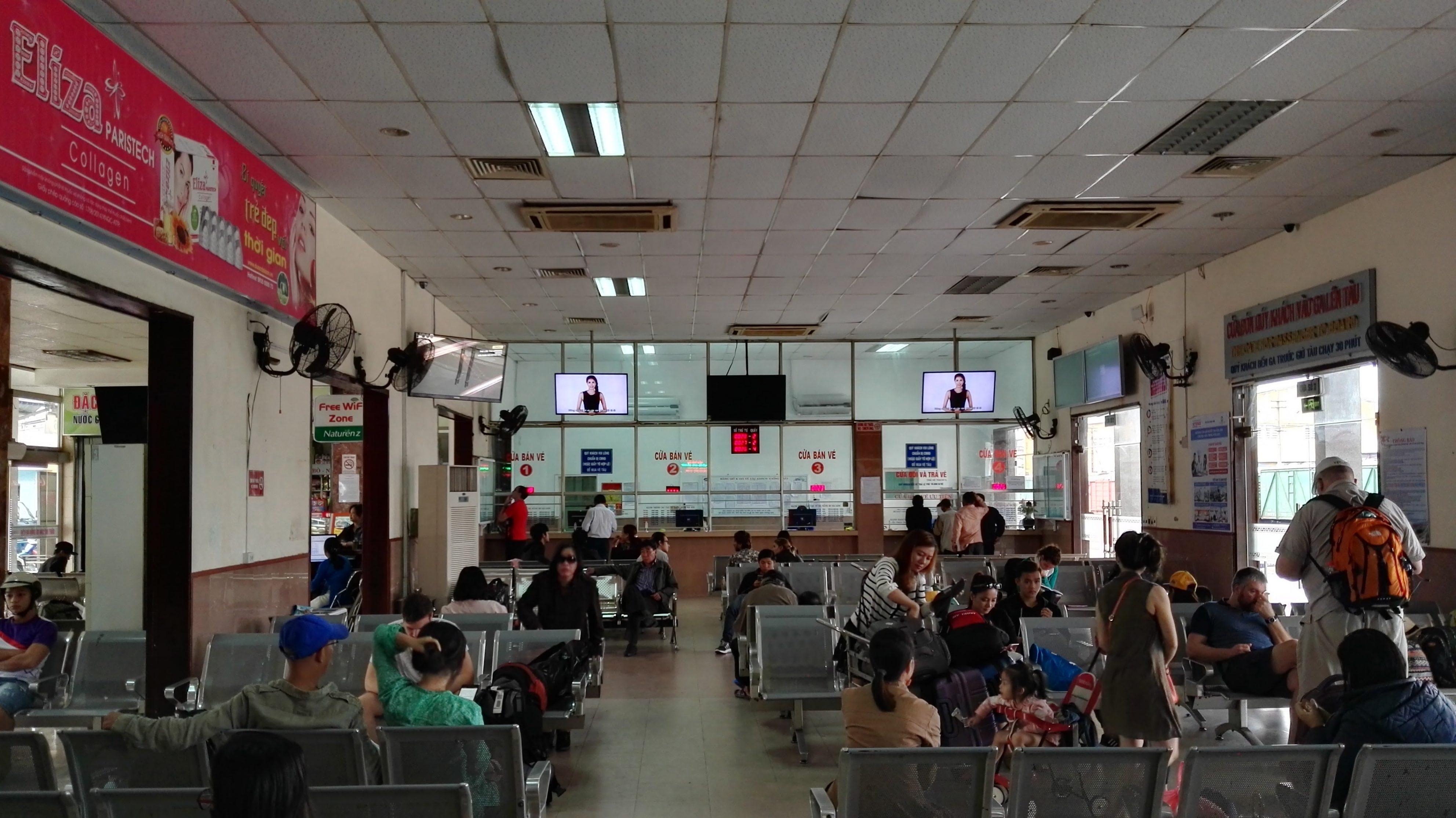 The waiting area at Da Nang Train Station.